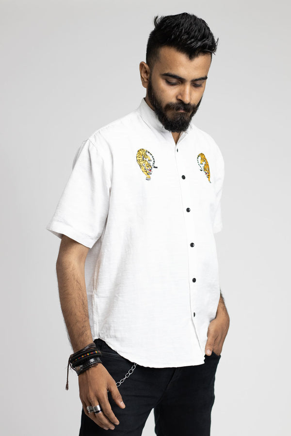 White Embroidered Shirt by Neith