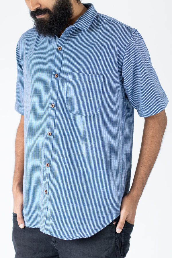Arctic Blue White Striped Shirt