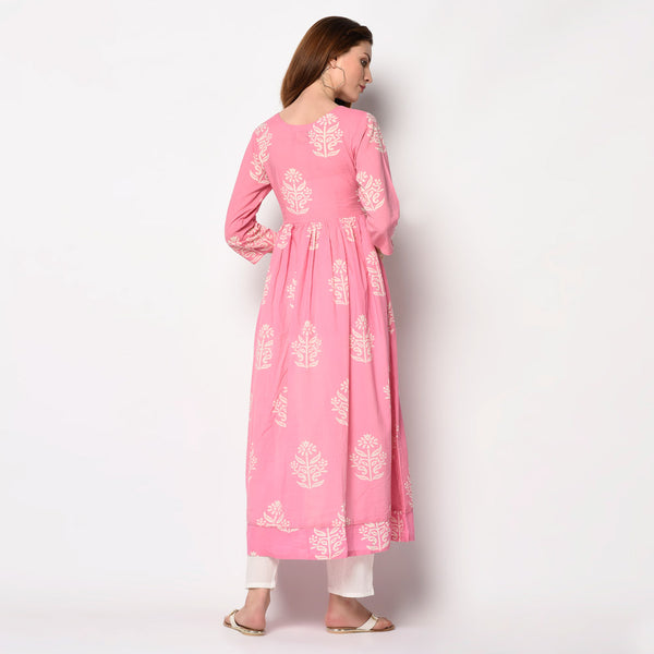 Cotton Block Printed Baby Pink Kurti Set