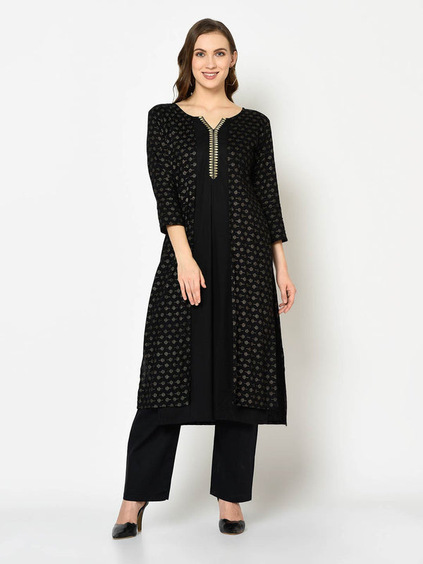 Black Cardigan Kurti with Pant Set