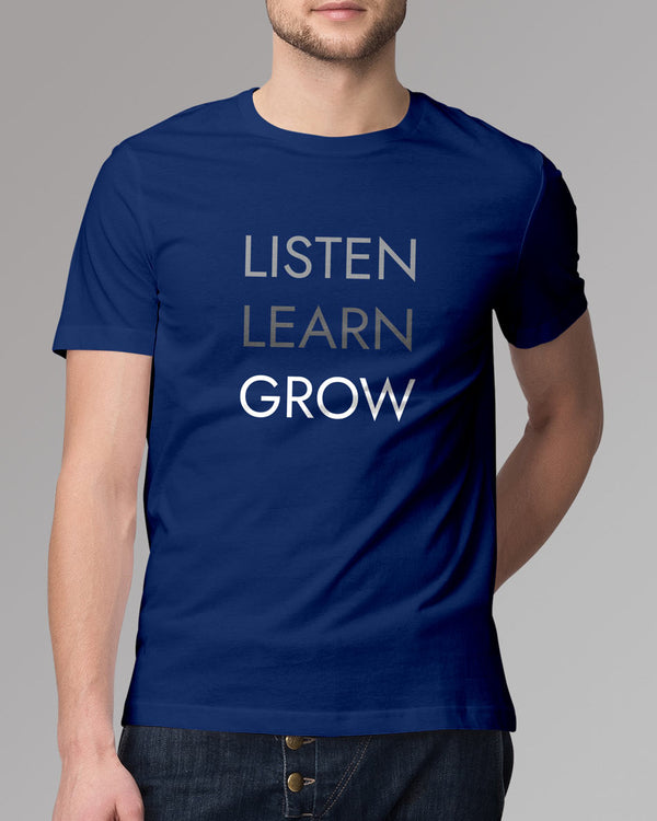 LLG - Men's T-shirt, Listen , learn, grow typography tees