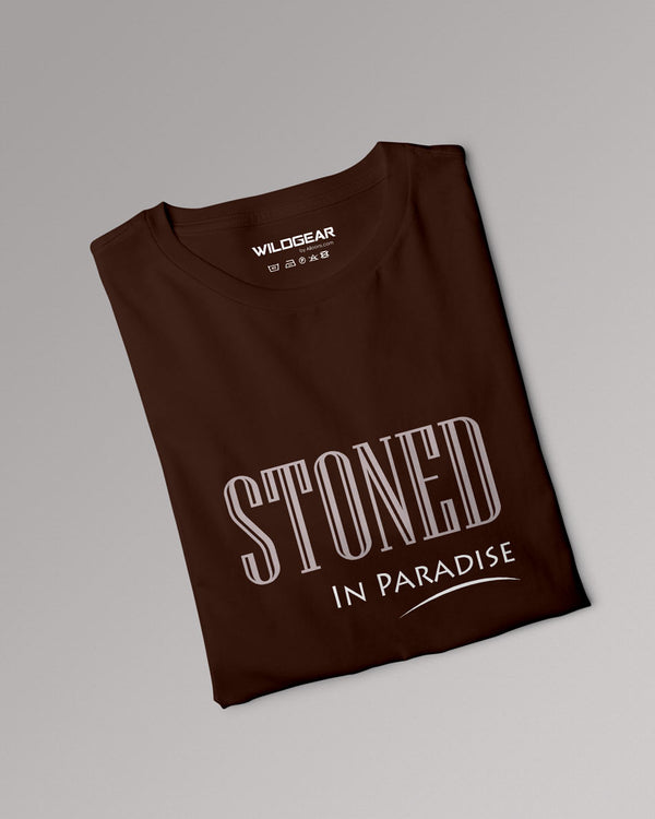 Stoned in Paradise - Coffee brown typography Tshirt, Mens clothing