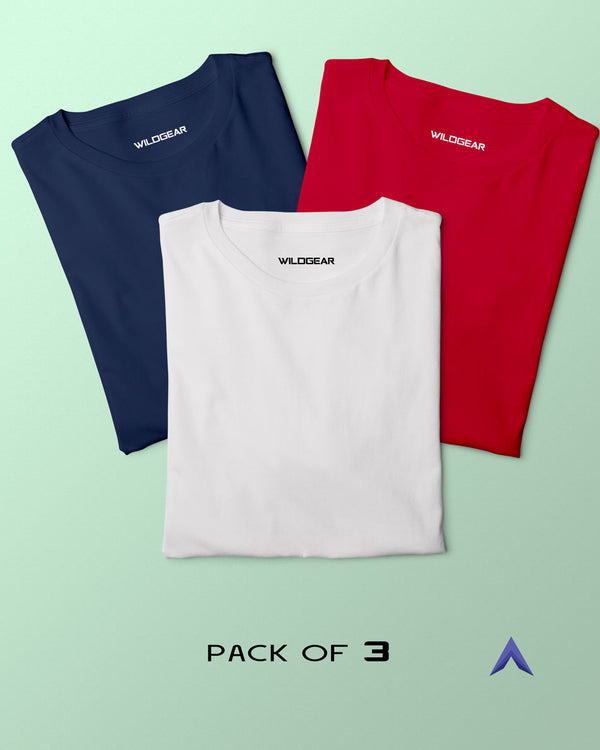 Pack of 3 - White, Red, Navy Blue