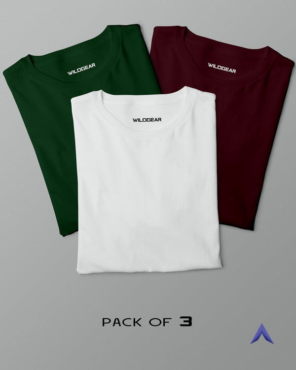 Pack of 3 - White, Maroon, Olive Green