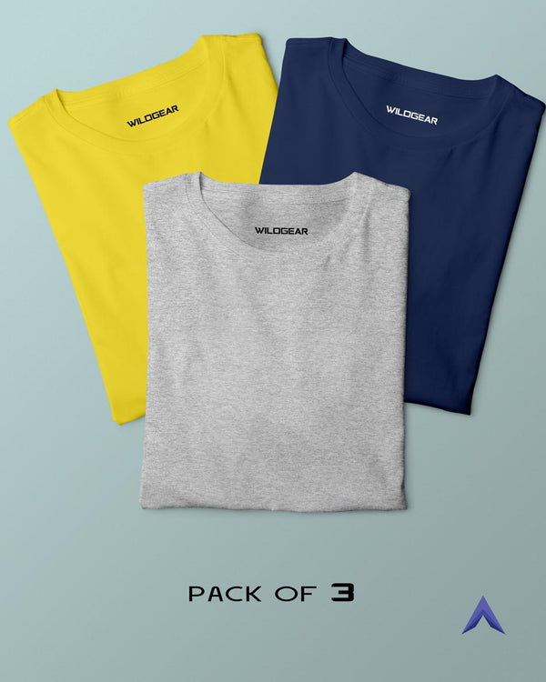 Pack of 3 - Yellow, Grey, Navy Blue