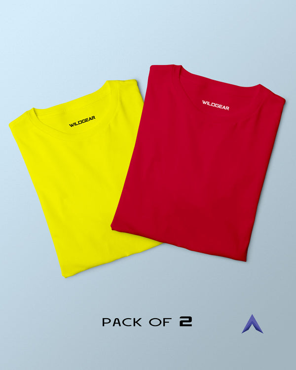 Pack of 2 - Solid Red, Yellow