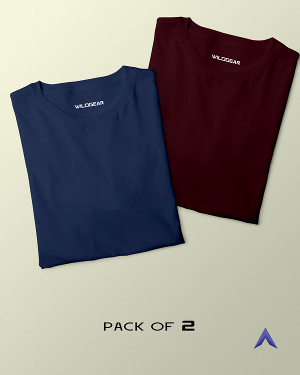 Pack of 2 - Navy Blue, Maroon