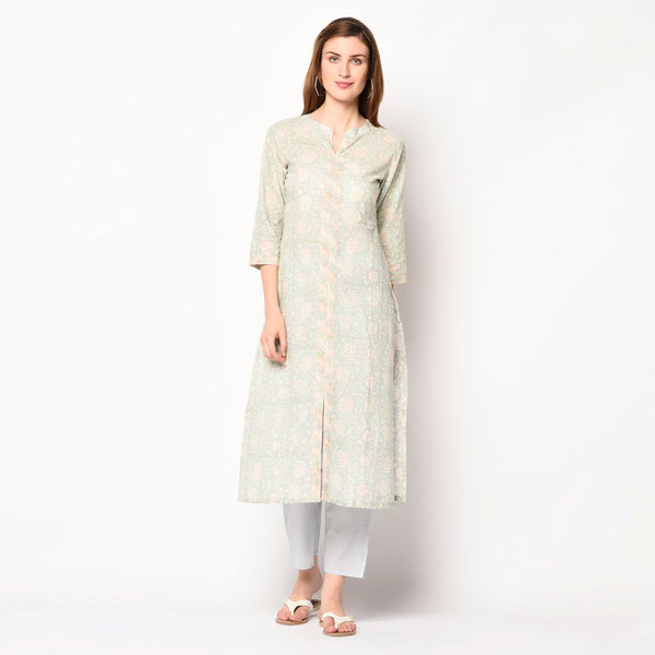 Grey block print A-line kurti set