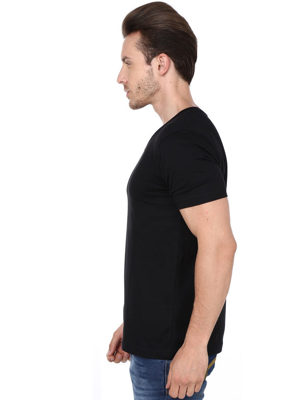 Men's Solid Black - V- Neck