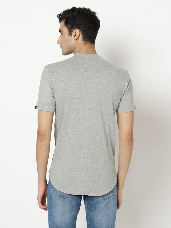 Heather Grey Marcella Shirt - Mandarin Collar