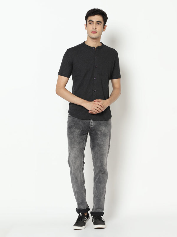 Charcoal Grey Marcella Shirt - Mandarin Collar