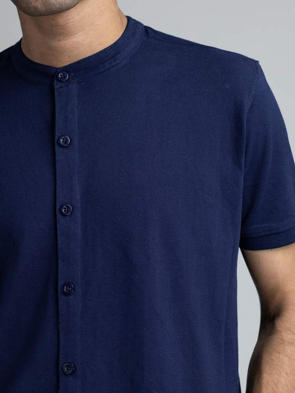 Midnight Blue Marcella Shirt - Mandarin Collar