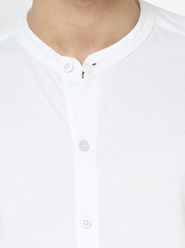 Marcella Shirt White - Mandarin Collar