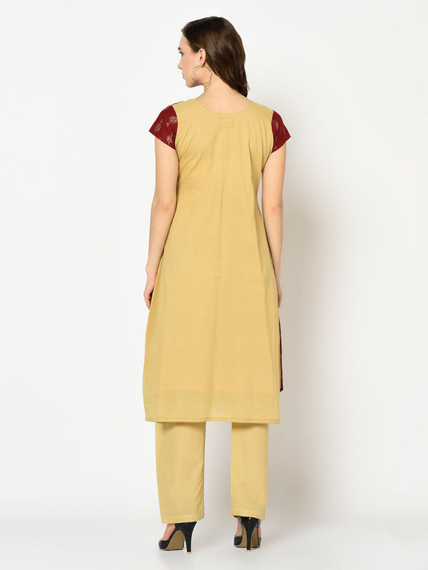 Maroon and Cream Layered front slit Kurti with Pant Set