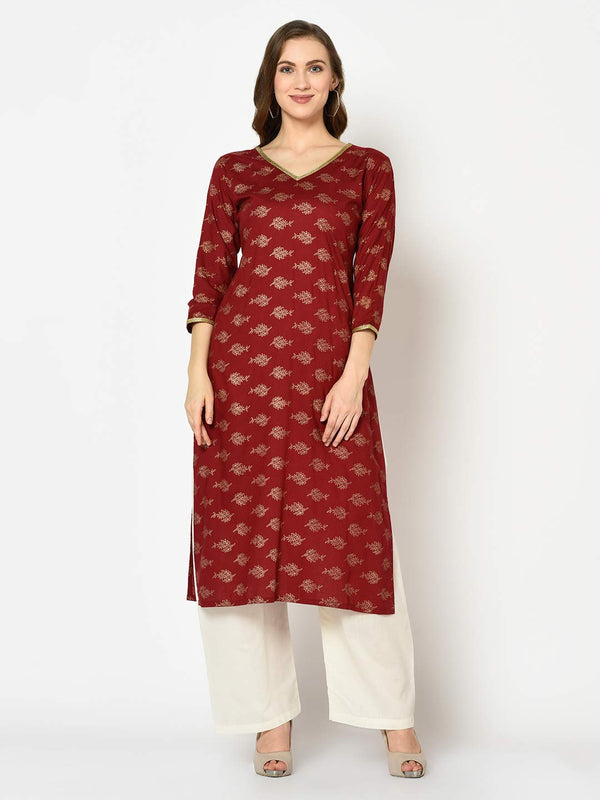 Maroon Straight Cut Kurti with Pant Set