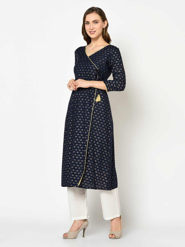 Navy Blue Angrakha Kurti with Pant Set