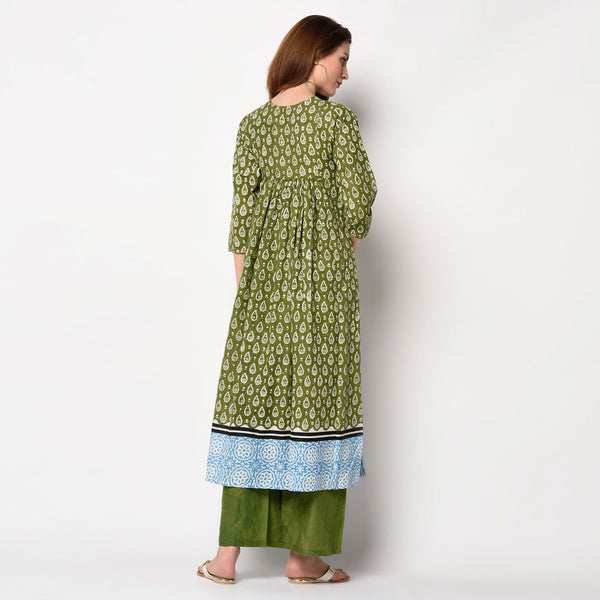 Olive green kurti at alloons.com