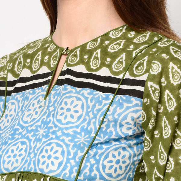 Block printed Kurti Sets in Olive Green