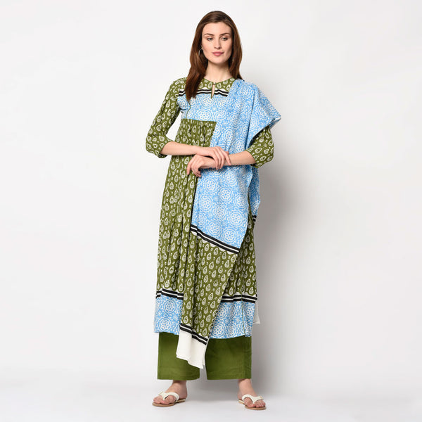 Olive green cotton kurti with dupatta and pant set