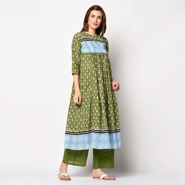 Cotton gathered block printed kurti sets