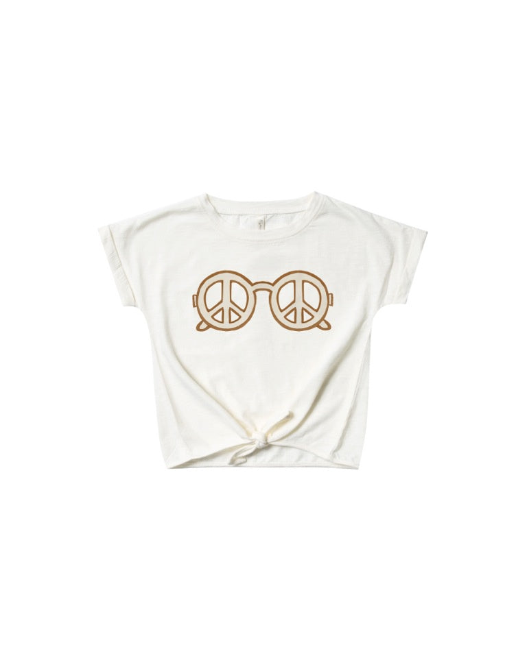 RYLEE AND CRU KNOTTED TEE - PEACE IVORY