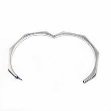 Sterling silver hexagon bangle shown with open hinge