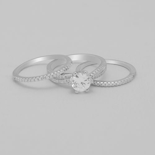 CZ three ring set sterling silver