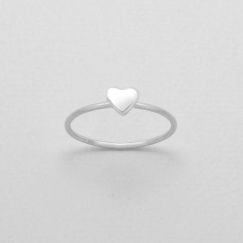 Dainty cute heart stacker ring sterling silver