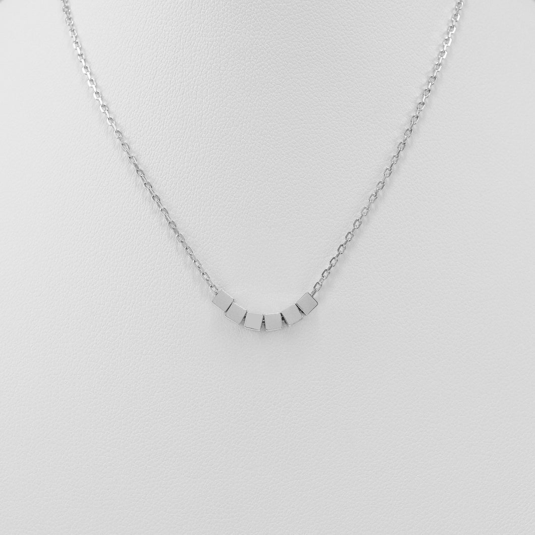 Sterling silver geometric block necklace