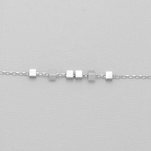 Sterling silver block necklace closeup