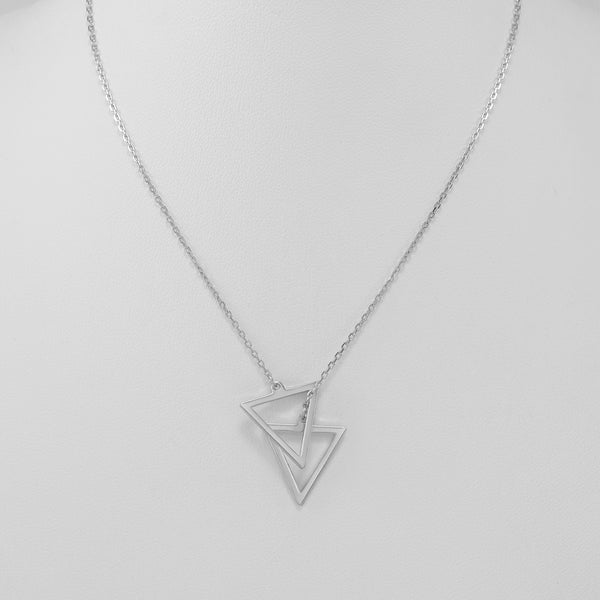 Double triangle sterling silver necklace