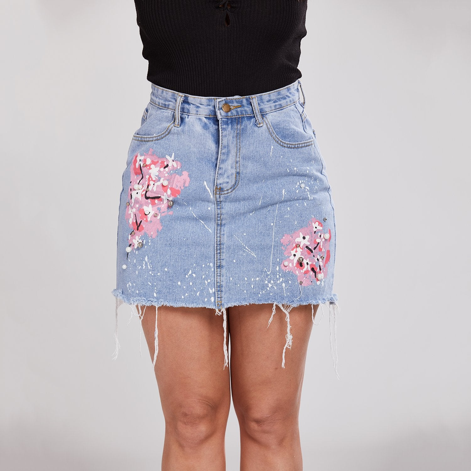 Button Down Front Denim Short Skirt