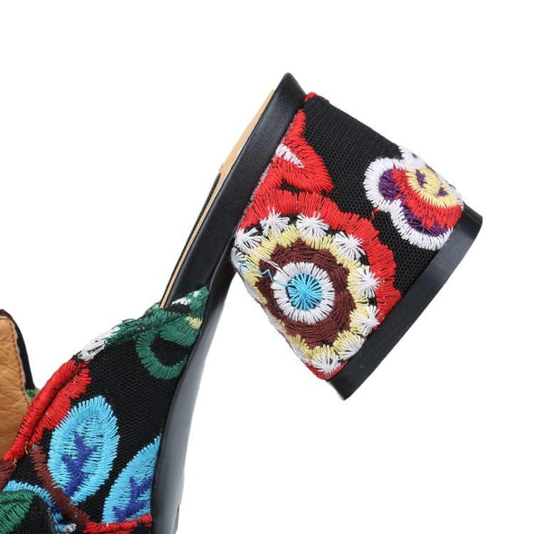 Block Heel Embroidery Mule