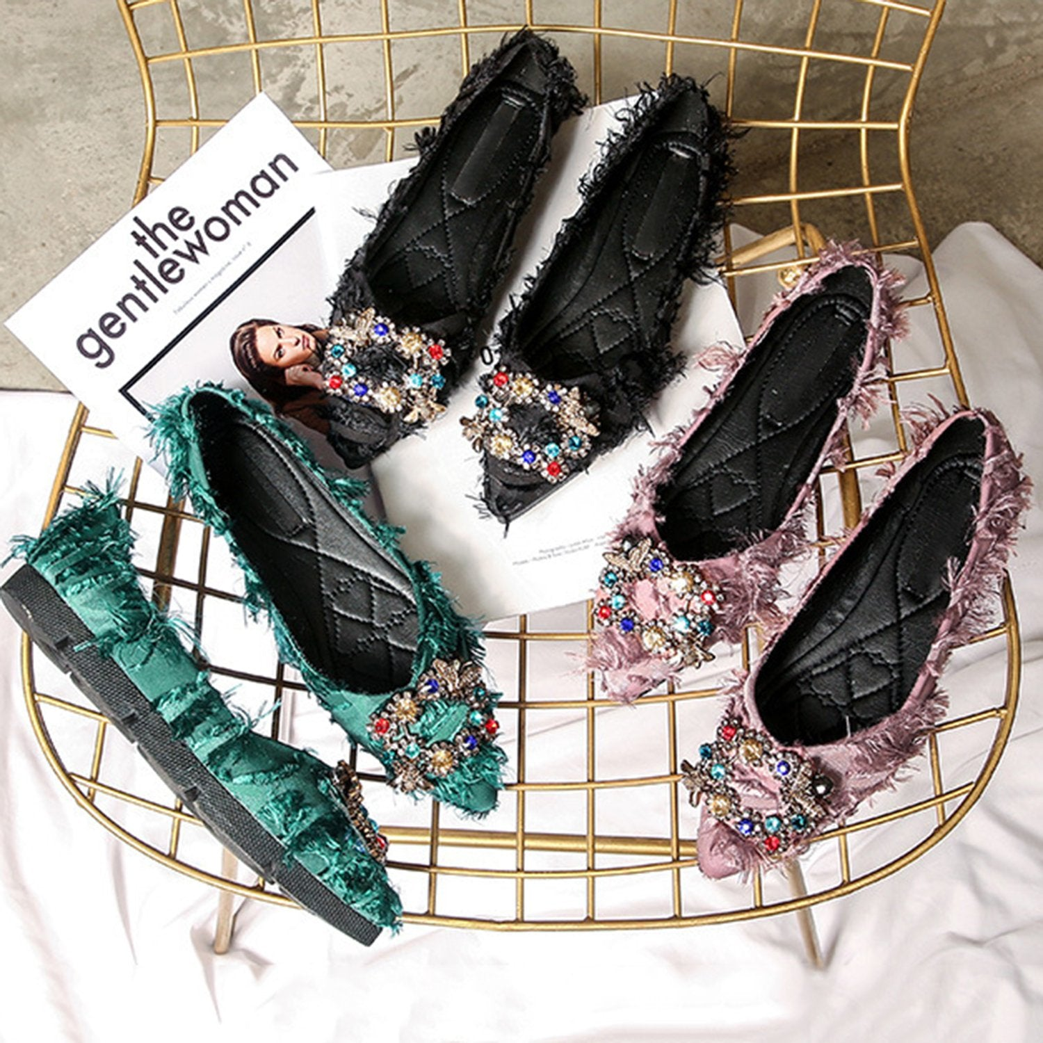 Pointed Flat Rhinestones Loafers