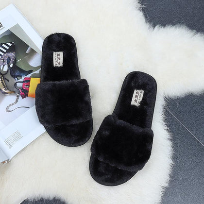 Soft Flat Fur Slides Sandals