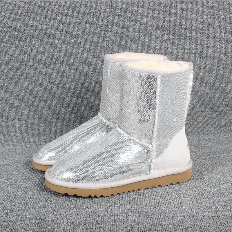 Medium Tube Sequined Warm Women's Snow Boots