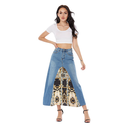 High Waist Long Denim Jean Skirt