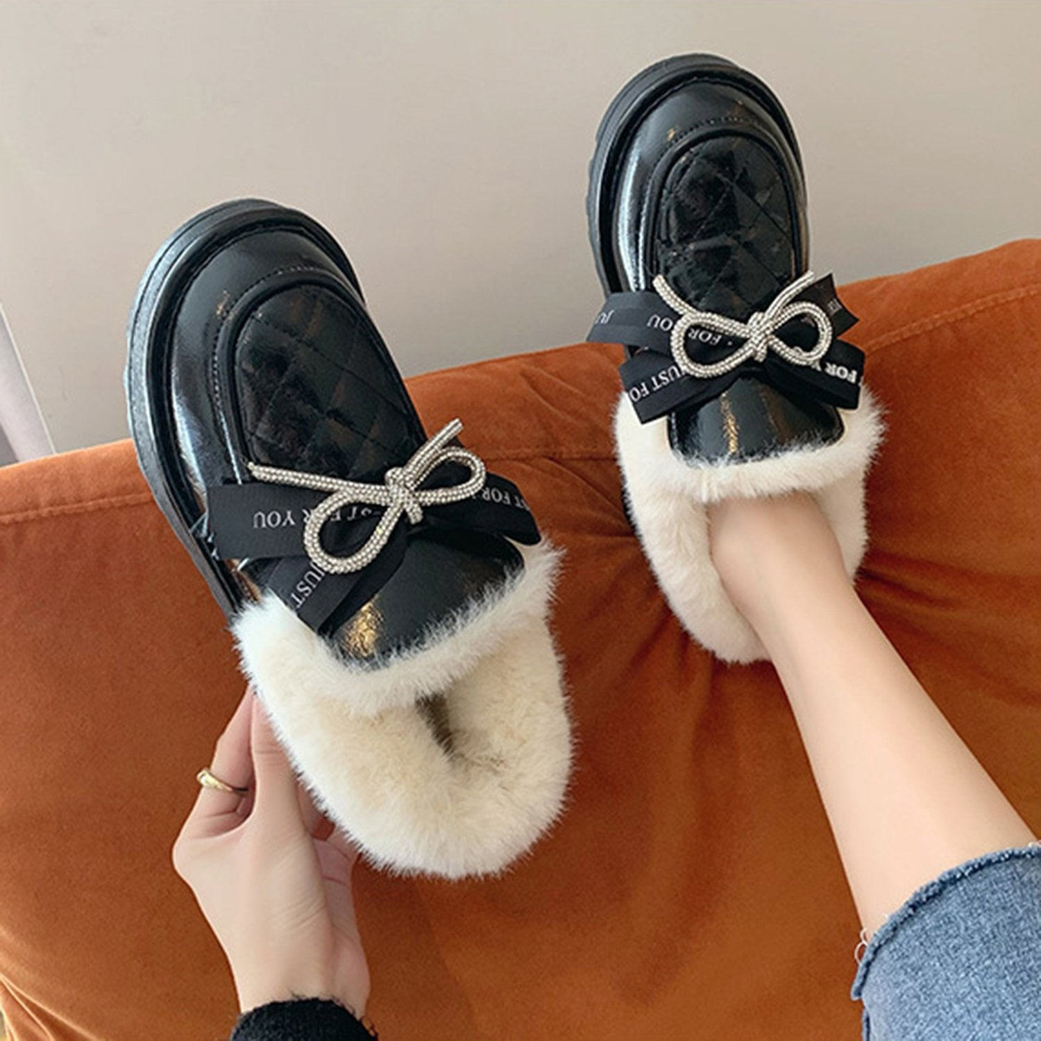 Casual Rhinestone Platform Loafer Shoes