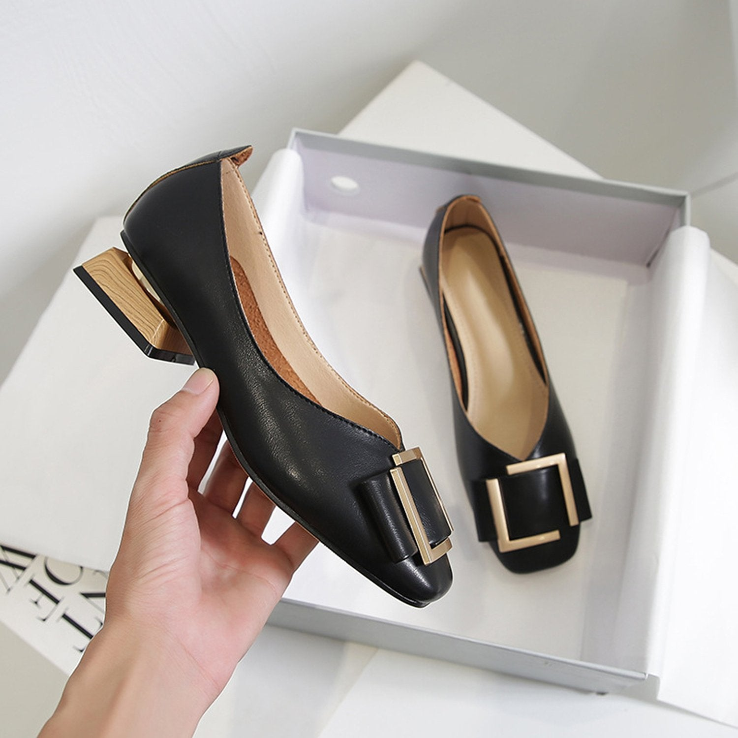Square Head Thick Heel British Style Loafers