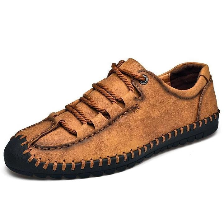Men Hand Stitching Anti-collision Soft Casual Leather Loafers