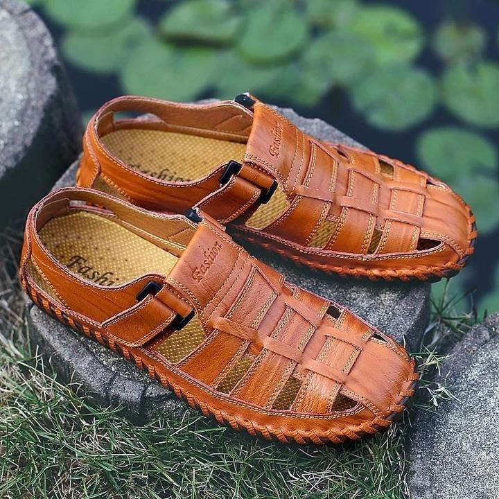Men Soft Cow Leather Hand Stitching Hook Loop Sandals