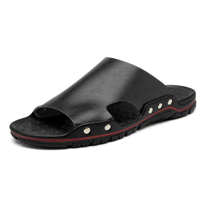Men's outdoor flip flops leather slippers beach sandals wading old shoes