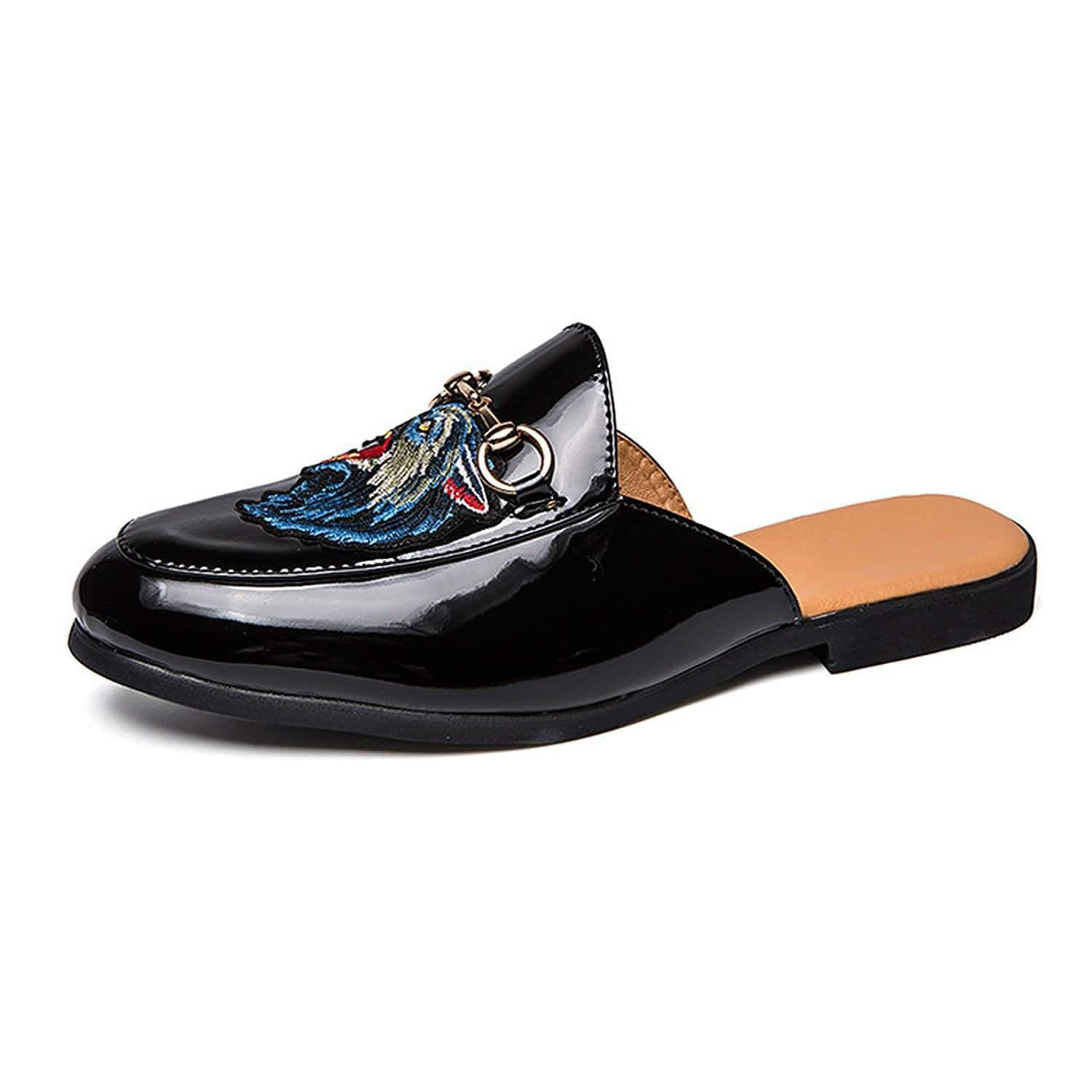 Men's Backless Slip On Buckle Mules