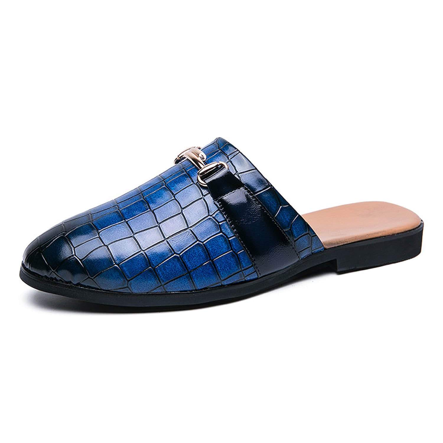 Men's Leather Buckle Pointed Toe Gradient Mules