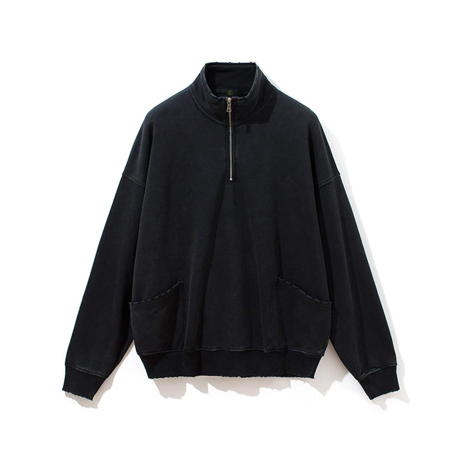 Stand Collar Drop Shoulder Coat
