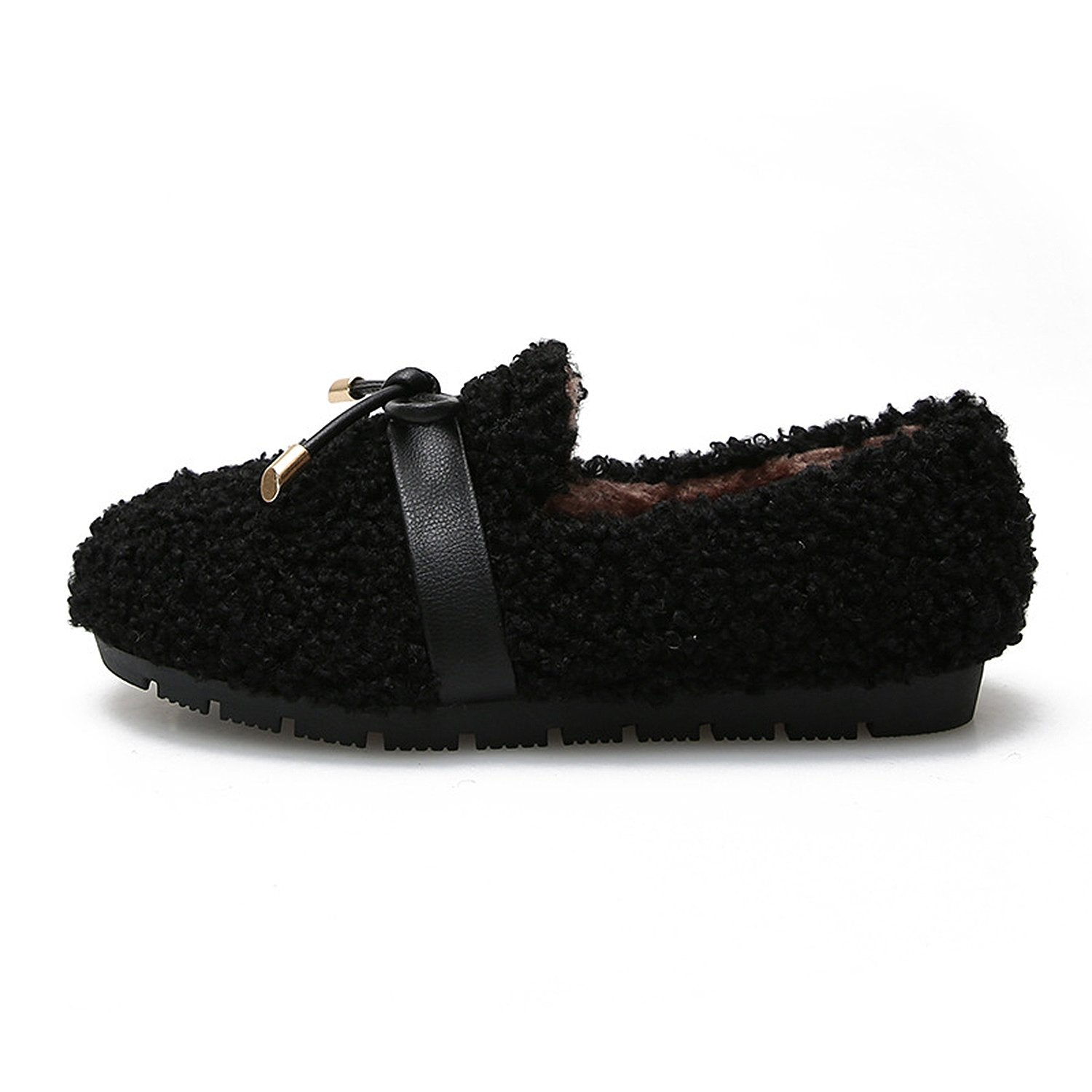 Flat Fur Bowknot Decoration Shoes Loafers