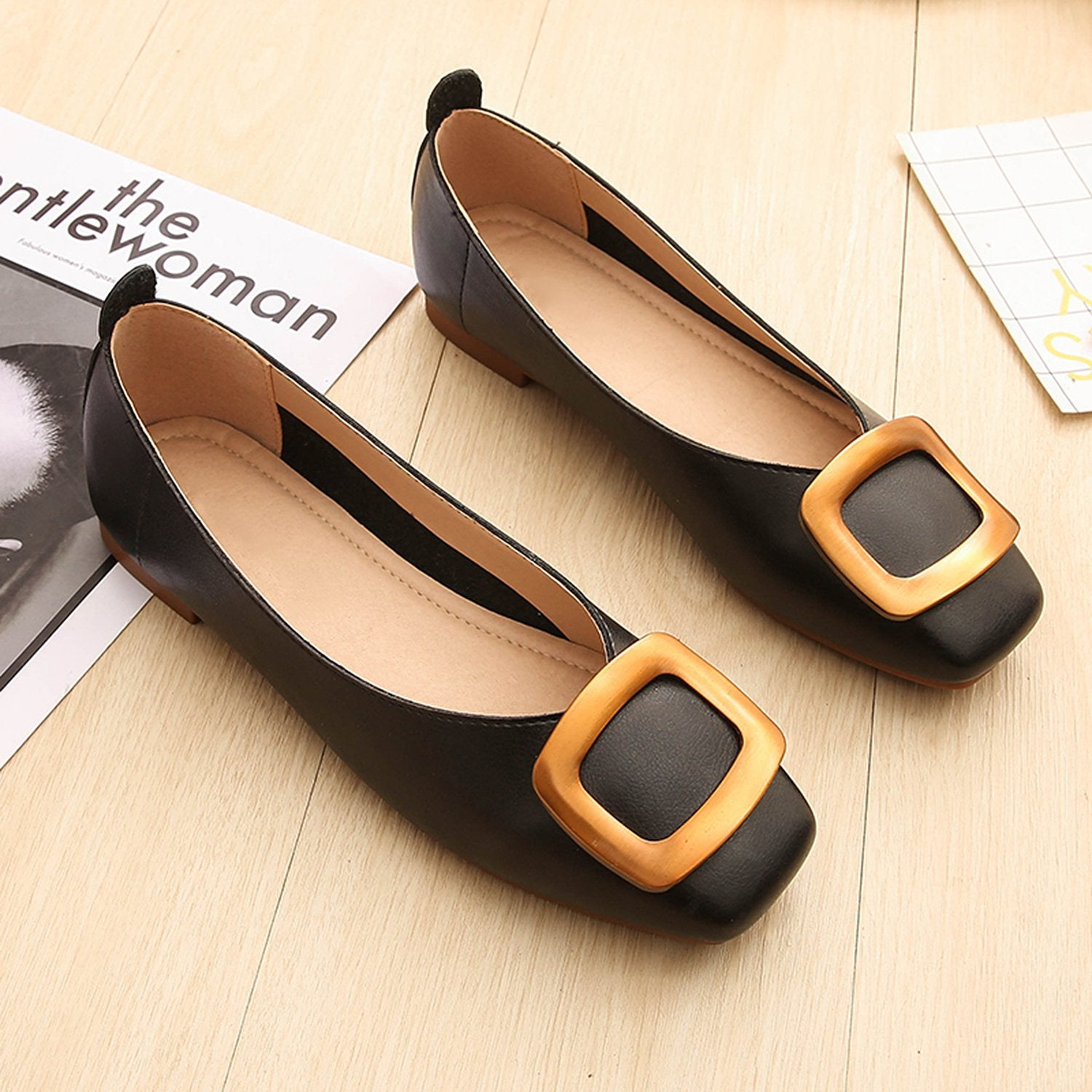 Shallow Metal Square Buckle Casual Shoes