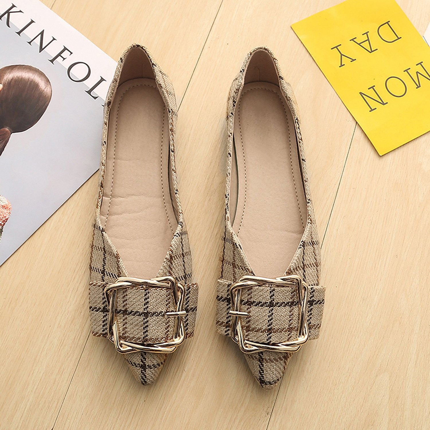 Pointed Flat Metal Buckle Shoes