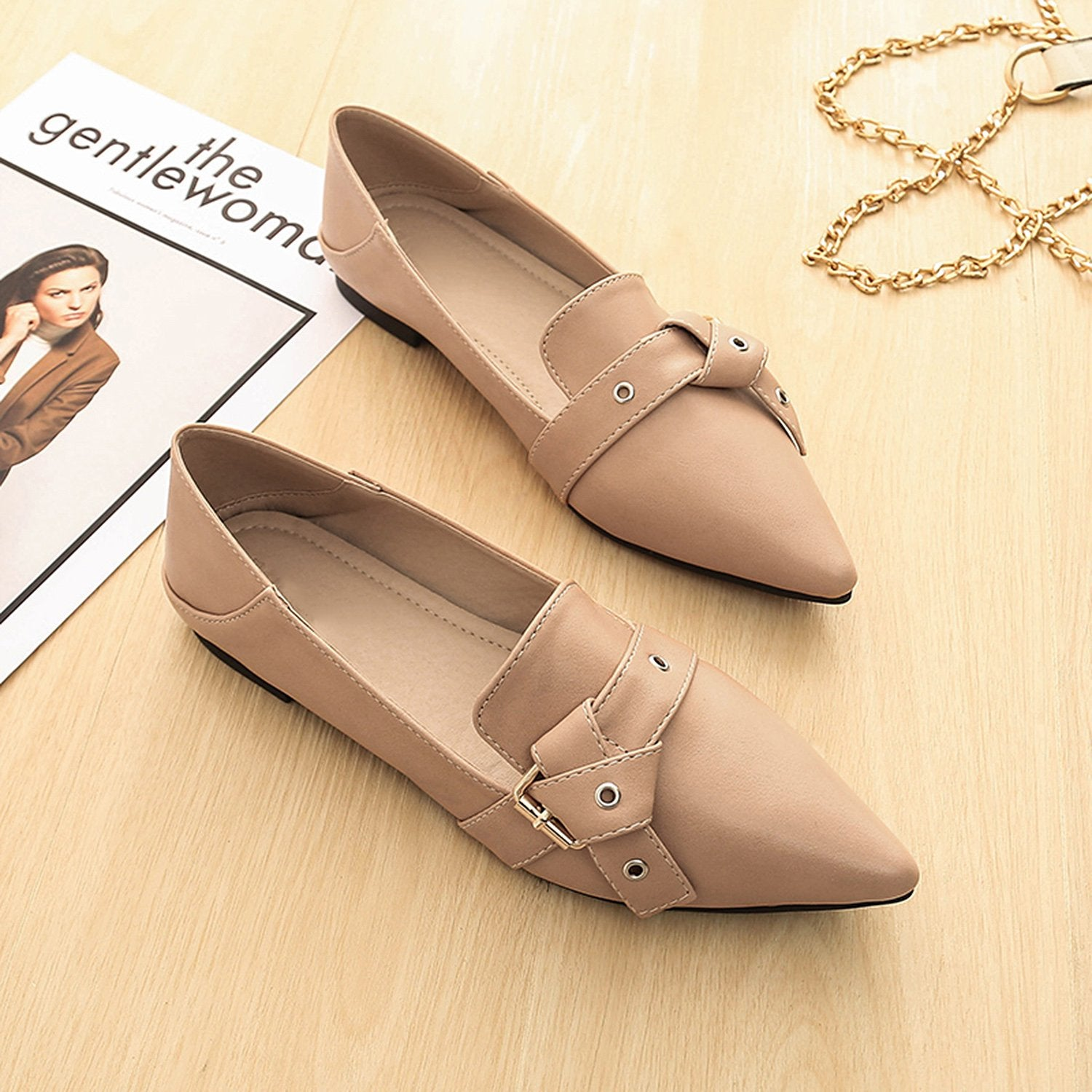 Fashion Belt Buckle Pointed Flat Shoes Loafers