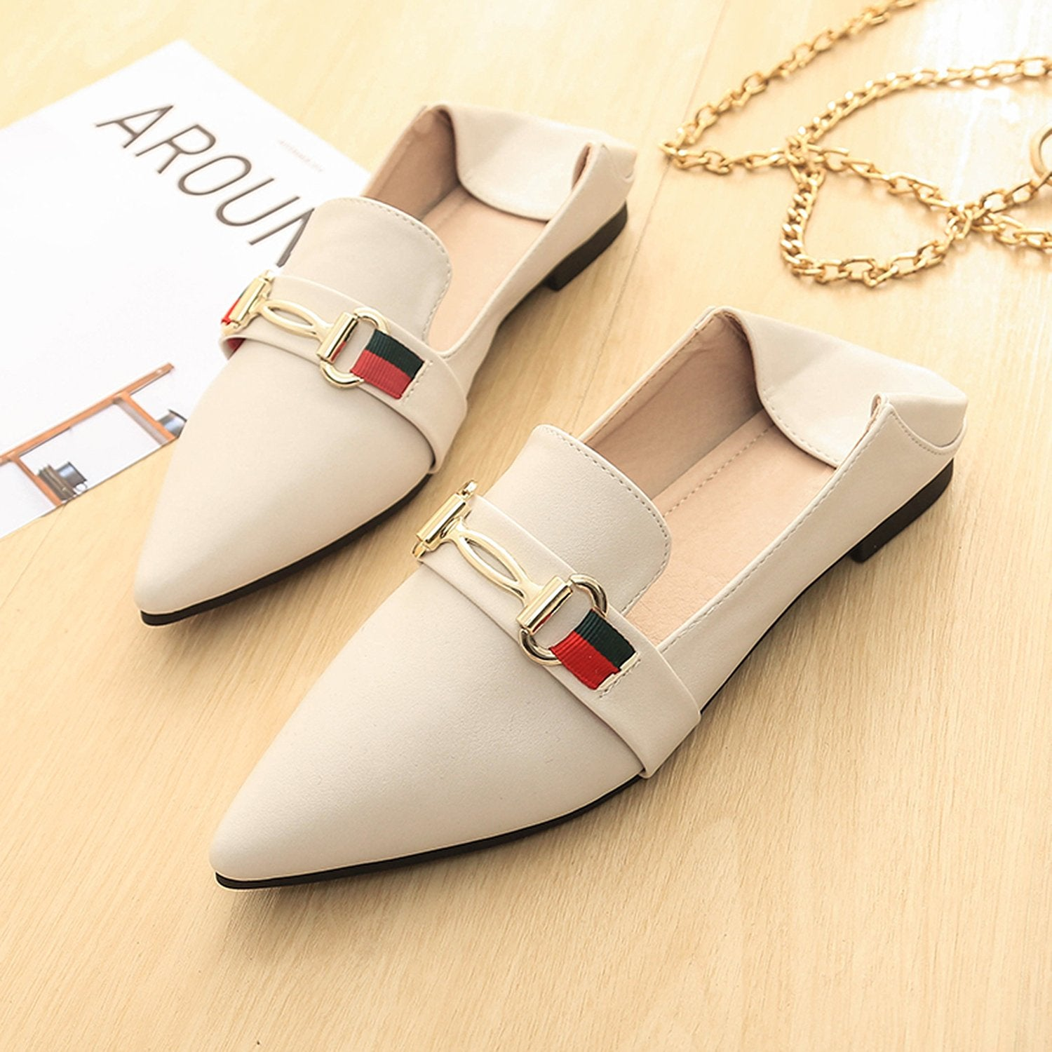 Metal Buckle Colorblock Pointed Loafers